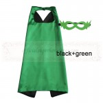 Black and Green Reversible Kids Plain cape with mask