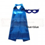 Blue and Blue Reversible Kids Plain cape with mask