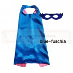 Blue and Fuschia Reversible Kids Plain cape with mask
