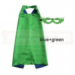 Blue and Green Reversible Kids Plain cape with mask