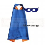 Blue and Orange Reversible Kids Plain cape with mask