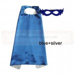 Blue and Silver Reversible Kids Plain cape with mask