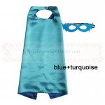 Blue and Turquoise Reversible Kids Plain cape with mask