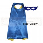 Blue and Yellow Reversible Kids Plain cape with mask