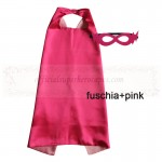 Fuschia and Pink Reversible Kids Plain cape with mask