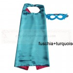 Fuschia and Turquoise Reversible Kids Plain cape with mask