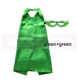 Green and Green Reversible Kids Plain cape with mask