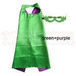 Green and Purple Reversible Kids Plain cape with mask