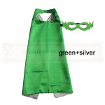 Green and Silver Reversible Kids Plain cape with mask