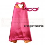 Orange and Fuschia Reversible Kids Plain cape with mask