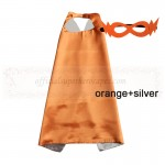 Orange and Silver Reversible Kids Plain cape with mask