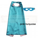 Pink and Turquoise Reversible Kids Plain cape with mask