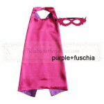 Purple and Fuschia Reversible Kids Plain cape with mask