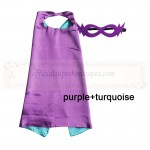 Purple and Turquoise Reversible Kids Plain cape with mask