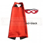 Red and Black Reversible Kids Plain cape with mask