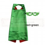 Red and Green Reversible Kids Plain cape with mask
