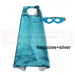 Turquoise and Silver Reversible Kids Plain cape with mask