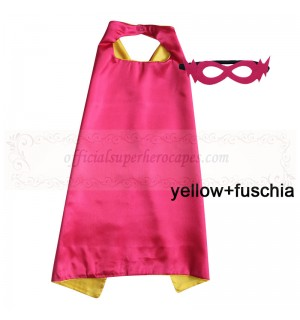 Yellow and Fuschia Reversible Kids Plain cape with mask