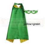 Yellow and Green Reversible Kids Plain cape with mask