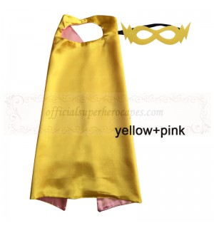 Yellow and Pink Reversible Kids Plain cape with mask