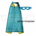 Yellow and Turquoise Reversible Kids Plain cape with mask