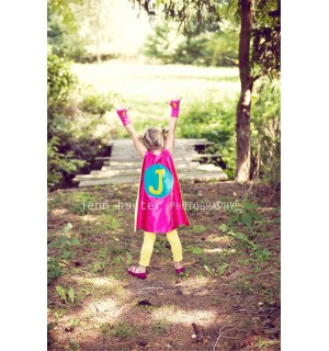 SUPER HERO CAPE -Girls doublesided (Personalized Initial) Customized Cape
