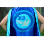 Boys PERSONALIZED SHARK SUPERHERO Cape - Customize with your childs Full Name - Personalized Shark Lover Gift for Kids - Shark Party
