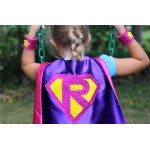 Fast Delivery - Sparkle PERSONALIZED GIRL SUPERHERO Cape - Custom Shield with Initial