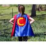 Fast Shipping - CUSTOMIZED Boy or Girls Super Hero Cape double sided with Childs INITIAL - 4 color options - Superhero Gift