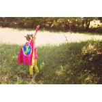 SUPER HERO CAPE -Girls doublesided (Personalized Initial) Customized Cape - Girls Pretend Play Costume