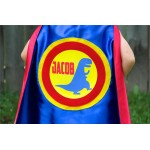 Personalized Dinosaur SUPERHERO CAPE with option to add matching dino power gloves - Full Name Dino Cape - Dinosaur party