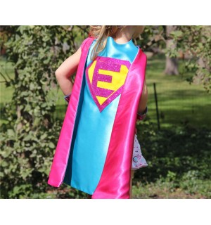 Sparkle PERSONALIZED Girl SUPERHERO CAPE - Customize with your childs initial - Kid Costume - Girl Superhero Party