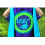 As seen on Cool Mom Picks - NEW Personalized Full Name Dinosaur SUPERHERO CAPE + 1 pair coordinating dino arm bands - Customized dino gift