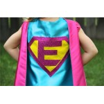 Sparkle PERSONALIZED Giri SUPERHERO CAPE - Customize with your childs initial - Kid Costume - Girl Superhero Party