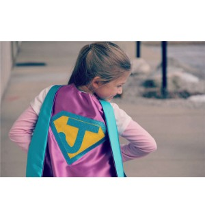 FAST Delivery - NEW Sparkle Personalized Girl Superhero Cape - Customize with your childs initial - Girl Superhero Party