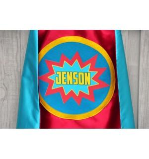 Boys Personalized SUPERHERO Cape - Full Name - POW Design - Includes full name in burst design - Custom Superhero Party - Fast Delivery