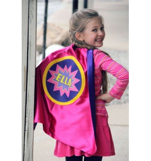 Girls Personalized SUPERHERO Cape with full NAME - POW - Includes full name in burst design - Custom Superhero Party - Fast Delivery
