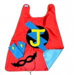 KIDS SUPERHERO Cape with PERSONALIZED Initial  - Red and Turquoise - Optional Accessories - Halloween Ready