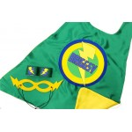 BOYS Full Name PERSONALIZED SUPERHERO Cape - Green and Yellow - Full Name or Nickname - Optional Accessories