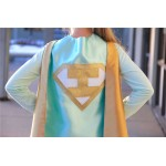 KIDS Personalized Mint and Gold Superhero Cape Set - Gold Shield - Customized Cape with INITIAL - Gold wrist bands - Basic bolt mask