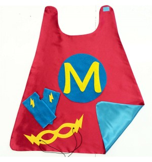 Kids Purple SUPER INITIAL Super Hero Cape - Fast shipping - Add optional coordinating Fingerless Gloves and Super Hero Mask - Easter ready