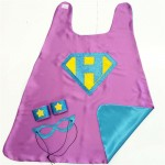Fast Shipping - Girls CUSTOM INITIAL SHIELD Superhero Cape - optional coordinating sparkle wrist bands and Super Hero Mask