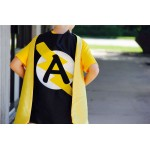 FAST Shipping - PERSONALIZED SUPERHERO cape with silver design + Custom Intial - Superhero Party - Superkidcapes Original
