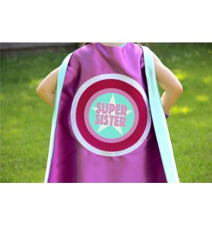 SUPER SISTER SUPERHERO Cape - Sibling gift - big sister gift - new baby - Ships Fast - Opition to add custom name