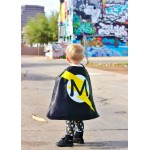 Holiday Sale - FAST Shipping - PERSONALIZED SUPERHERO cape with silver design + Custom Intial - Superhero Party - Superkidcapes Original