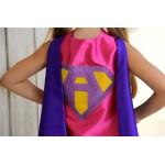 Girls Superhero Costume Cape - Sparkle PERSONALIZED GIRL SUPERHERO Cape - Custom Initial - 6 color choices - Ships Fast