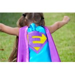 Ships Fast - Girls Halloween Superhero Costume Cape - Sparkle PERSONALIZED GIRL SUPERHERO Cape - Custom Initial - 6 color choices