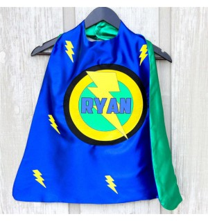 Boys SUPER BOLT SUPERHERO Cape - Personalized with Full Name - Superkid Capes Original - Fast Shipping - Halloween kids costume