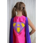 Ships Fast - Girls Sparkle Custom LETTER SUPERHERO CAPE - Custom Initial - 7 color choices - Kids Halloween Costume
