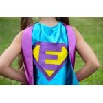 Girls Sparkle Custom INITIAL SUPERHERO CAPE - Ships Fast - Girls Halloween Superhero Costume Cape - Custom Initial - 6 color choices